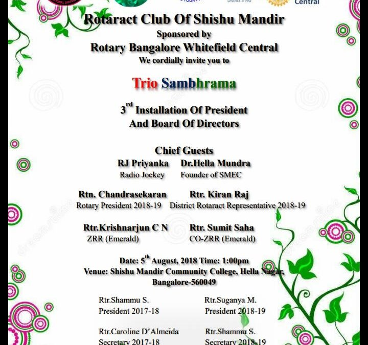 Installation of Rotaract Club of Shishu Mandir
